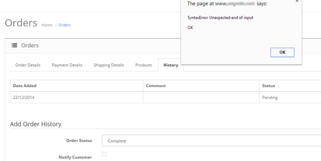 Ошибка при редактировании заказа opencart  (/admin/controller/sale/order.php on line 2221)